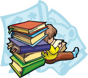 Gambar Kartun Muslimah Sedang Membaca Buku
